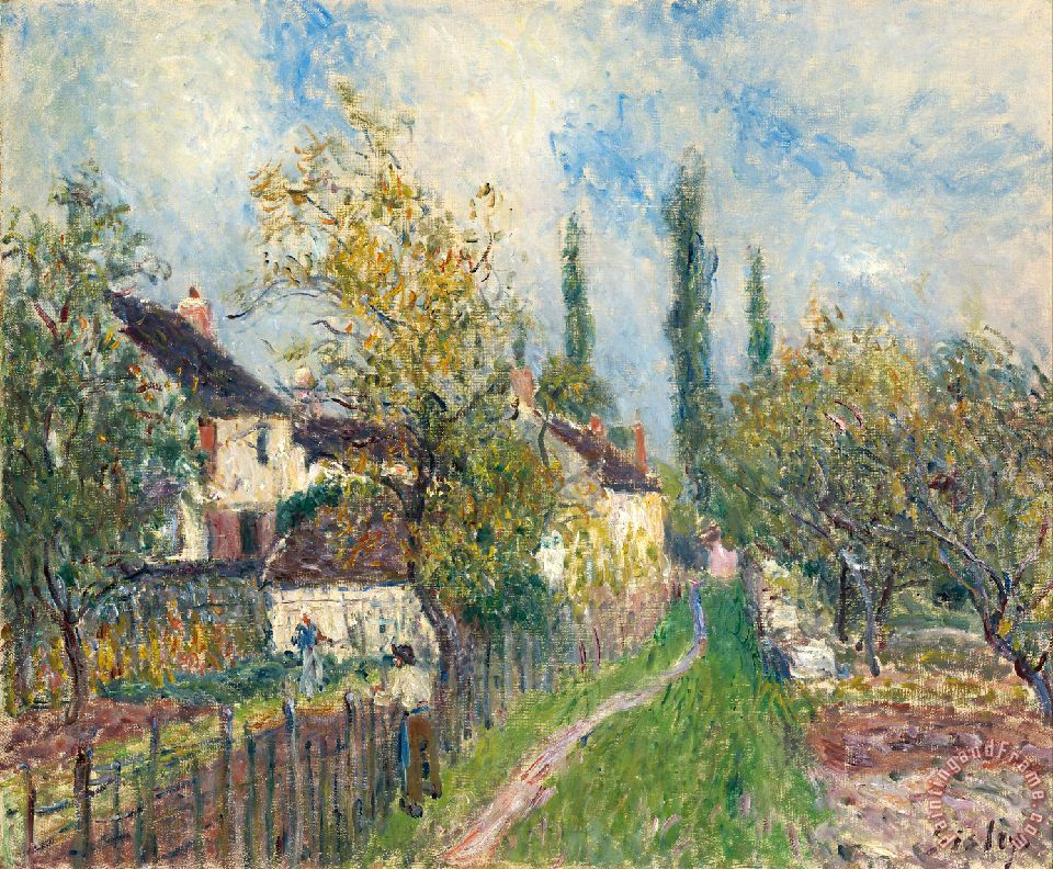 A Path at Les Sablons painting - Alfred Sisley A Path at Les Sablons Art Print