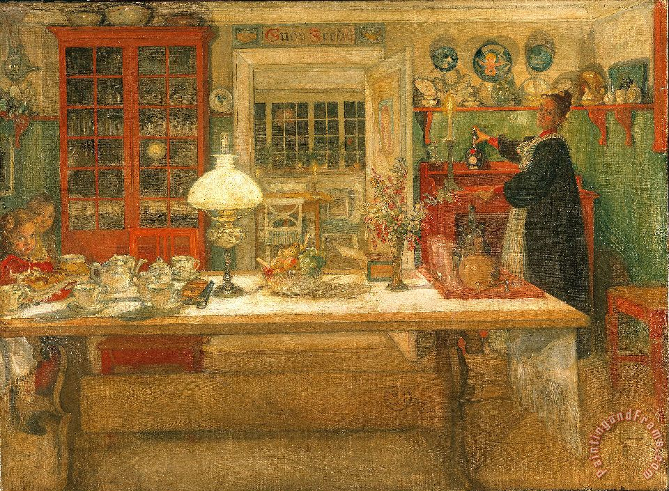 Getting Ready for a Game painting - Carl Larsson Getting Ready for a Game Art Print