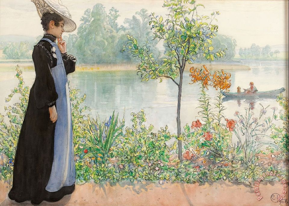 Carl Larsson Karin by The Shore Art Painting