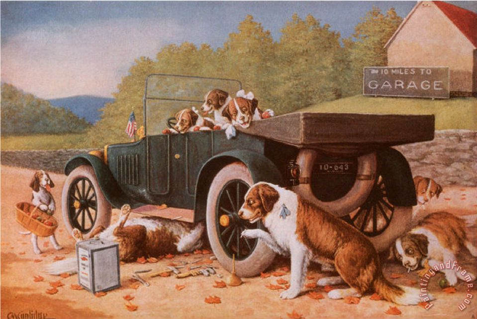 Cassius marcellus coolidge ten miles to a garage painting for Garage prints
