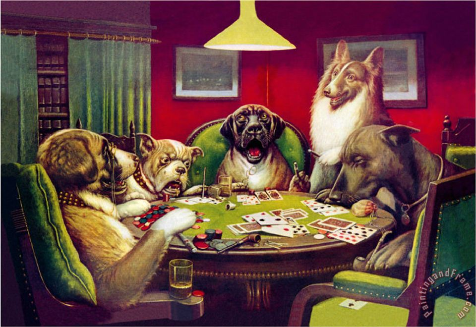 Cassius Marcellus Coolidge Waterloo Dogs Playing Poker