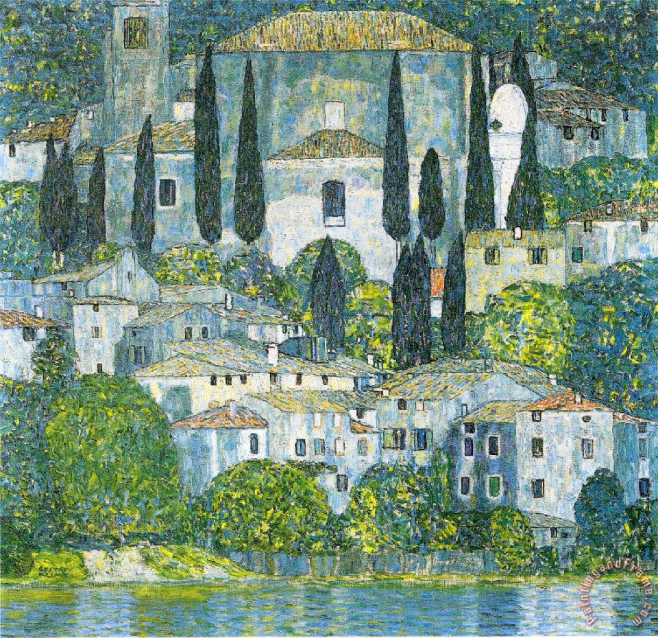 Gustav Klimt Kirche in Cassone Art Painting