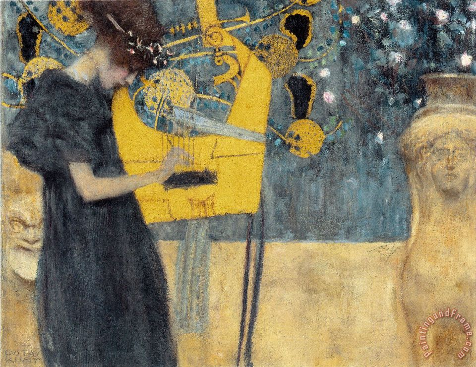 Music painting - Gustav Klimt Music Art Print