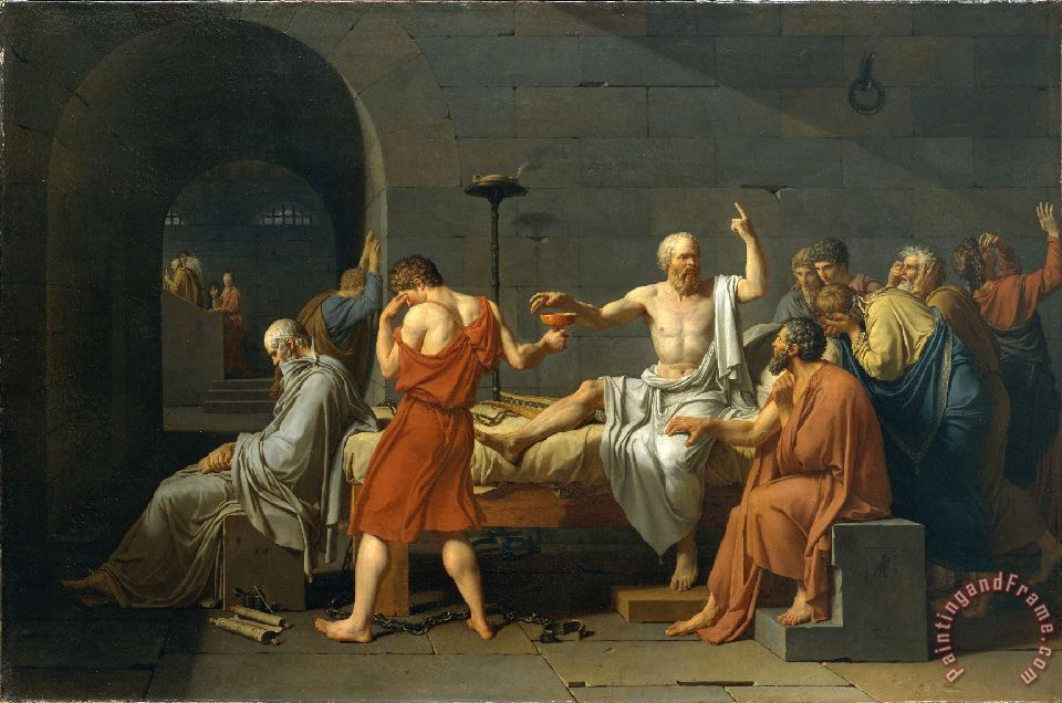 The Death of Socrates painting - Jacques Louis David The Death of Socrates Art Print