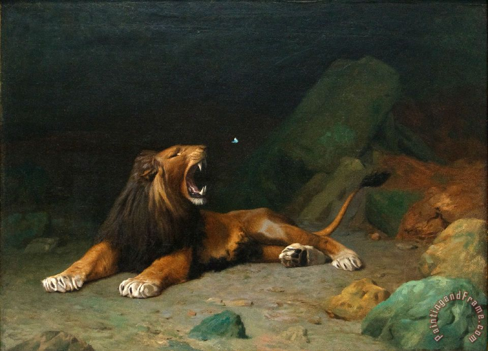Jean Leon Gerome Lion Snapping at a Butterfly Art Print