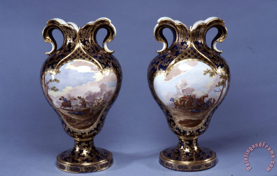 Porcelain Vase Sevres Porcelain Manufactory Pair Of Vases Painting