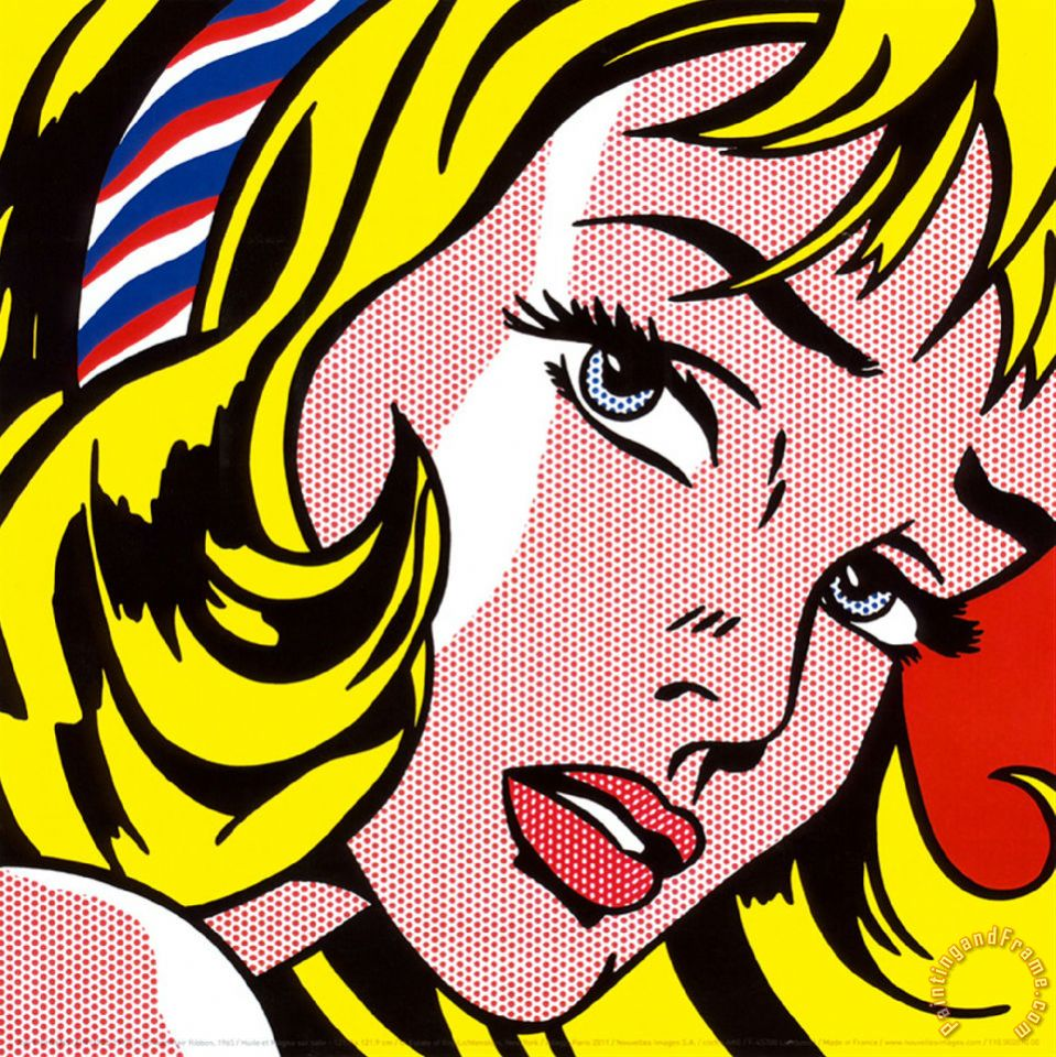 Girl with Hair Ribbon C 1965 painting - Roy Lichtenstein Girl with Hair Ribbon C 1965 Art Print