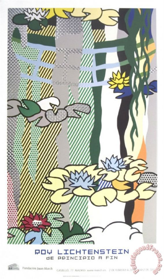 Water Lilies with Japanese Bridge painting - Roy Lichtenstein Water Lilies with Japanese Bridge Art Print