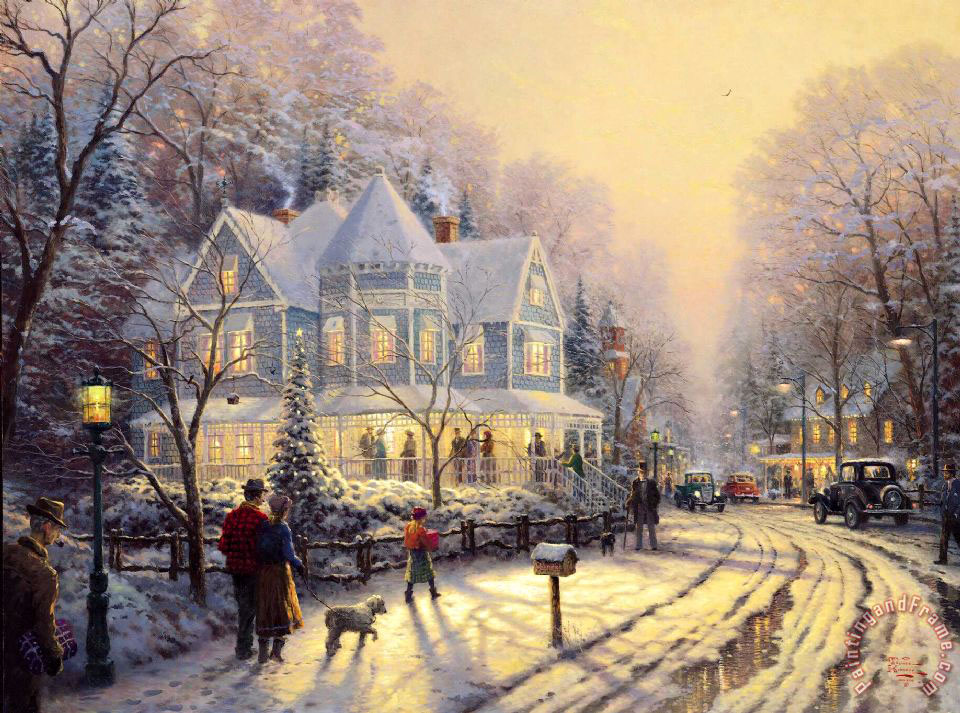 Thomas Kinkade A Holiday Gathering Art Print