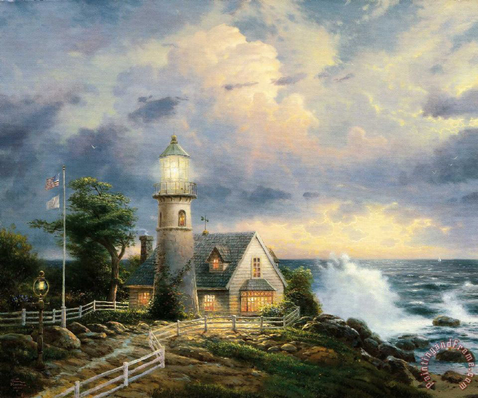 A Light in The Storm painting - Thomas Kinkade A Light in The Storm Art Print