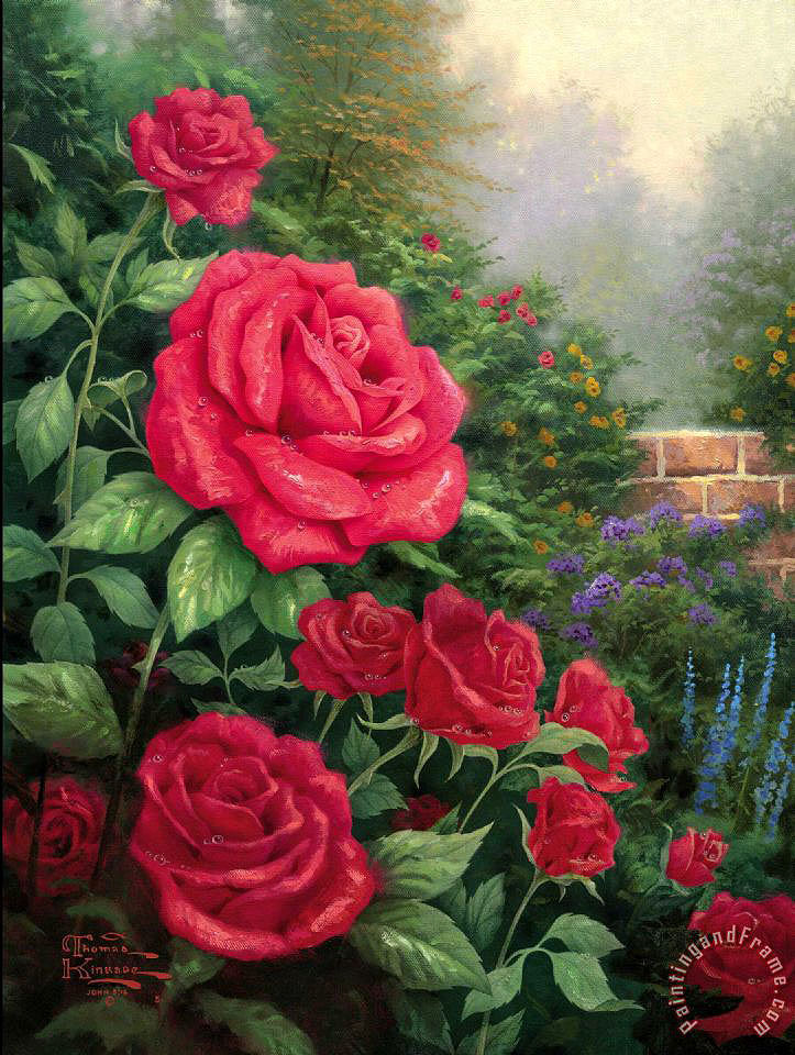 A Perfect Red Rose painting - Thomas Kinkade A Perfect Red Rose Art Print