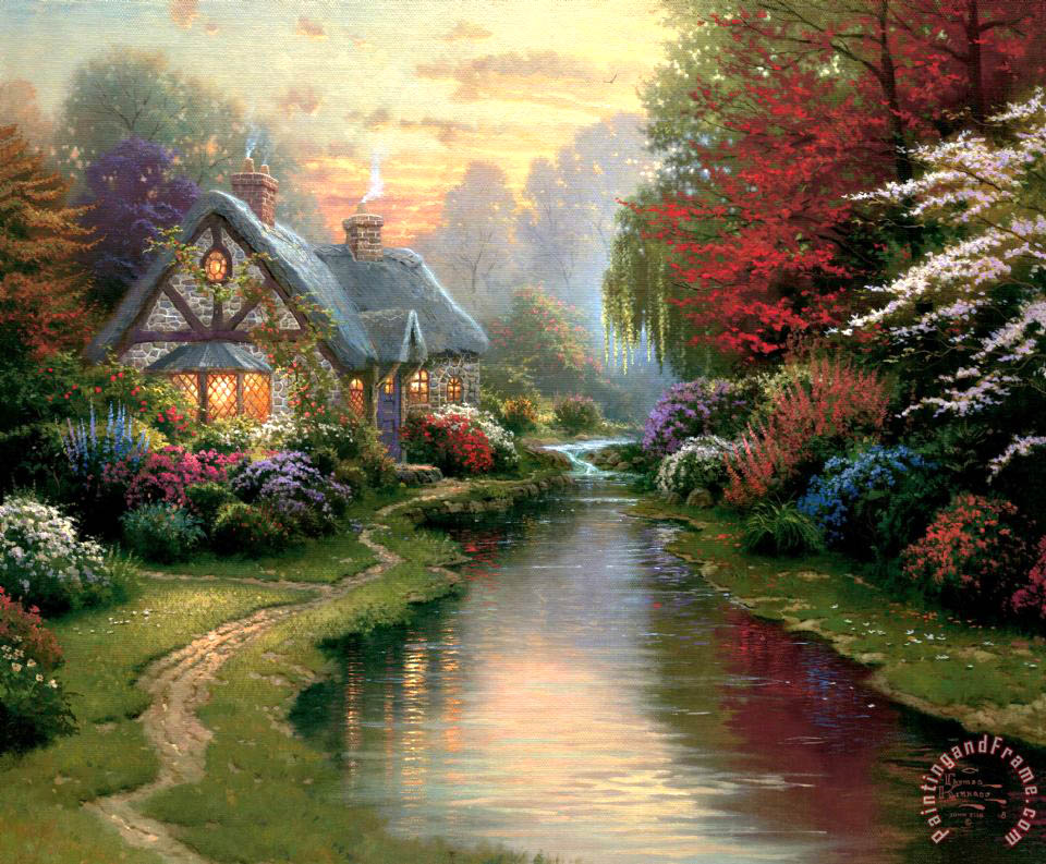Thomas Kinkade A Quiet Evening Art Print