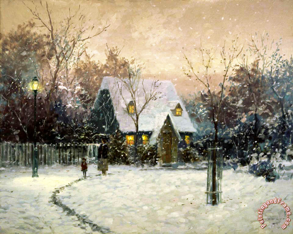 A Winter's Cottage painting - Thomas Kinkade A Winter's Cottage Art Print
