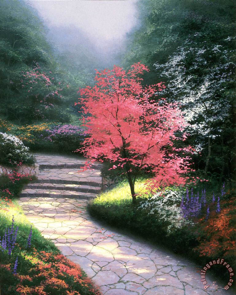 Afternoon Light, Dogwood painting - Thomas Kinkade Afternoon Light, Dogwood Art Print