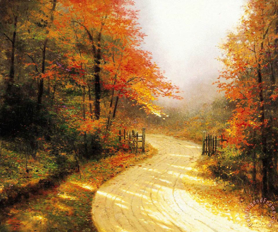 Thomas Kinkade Autumn Lane Art Painting