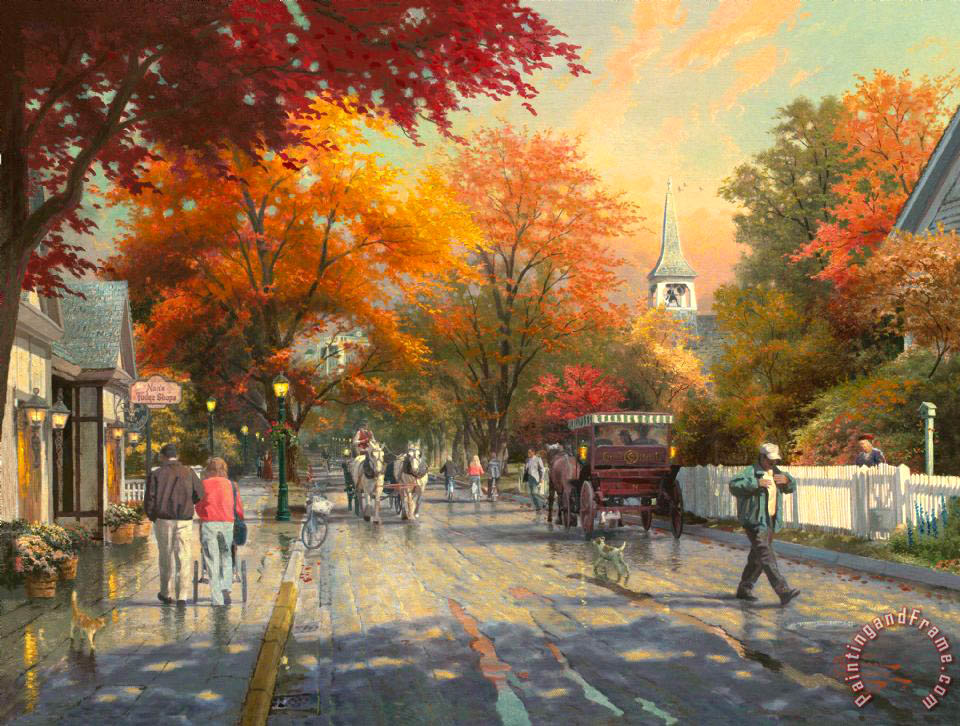 Autumn on Mackinac Island painting - Thomas Kinkade Autumn on Mackinac Island Art Print