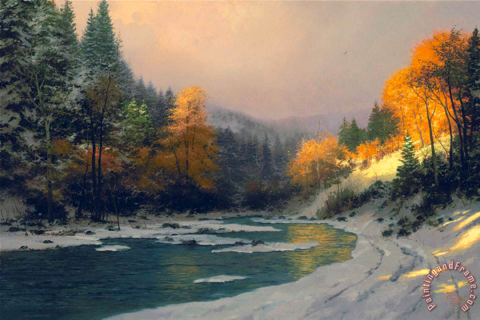 Autumn Snow painting - Thomas Kinkade Autumn Snow Art Print