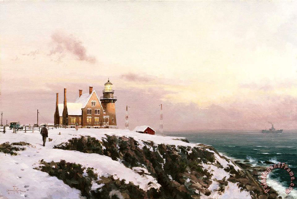 Block Island painting - Thomas Kinkade Block Island Art Print