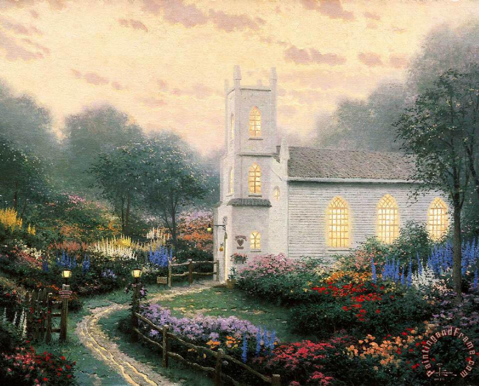 Thomas Kinkade Blossom Hill Church Painting Blossom Hill