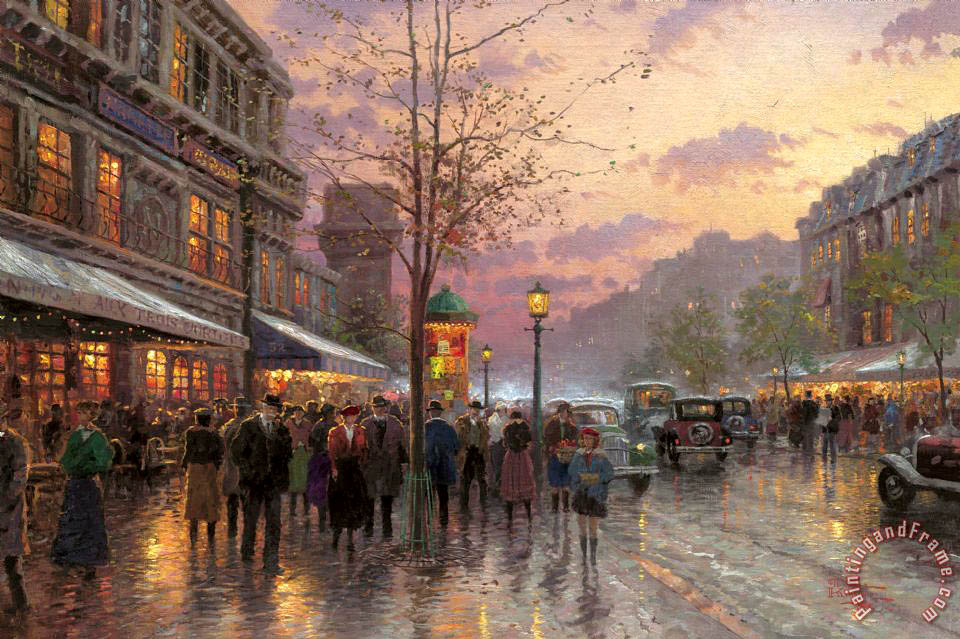 Thomas Kinkade Boulevard Lights, Paris Art Print