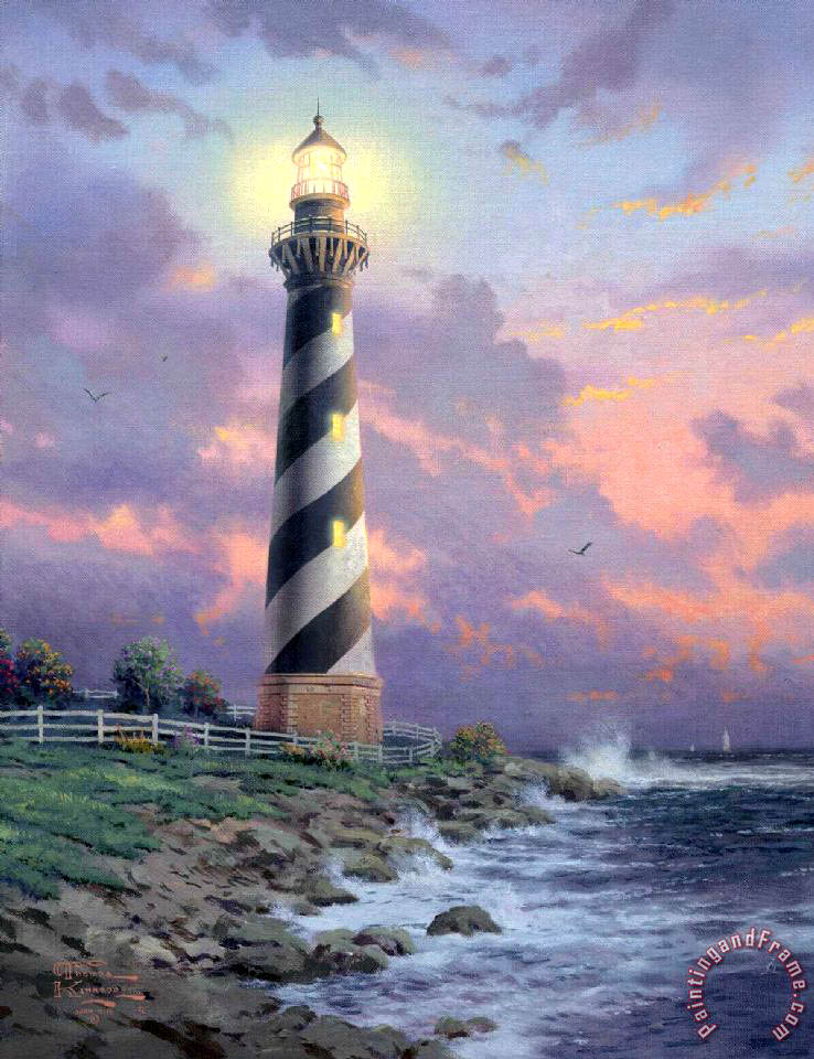 Cape Hatteras Light painting - Thomas Kinkade Cape Hatteras Light Art Print