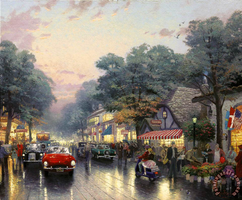 Thomas Kinkade Carmel, Dolores Street And The Tuck Box Tea Room ...