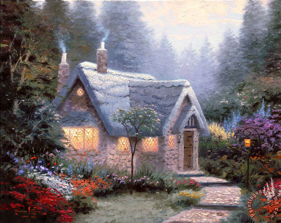 Thomas Kinkade Cedar Nook Cottage Painting Cedar Nook