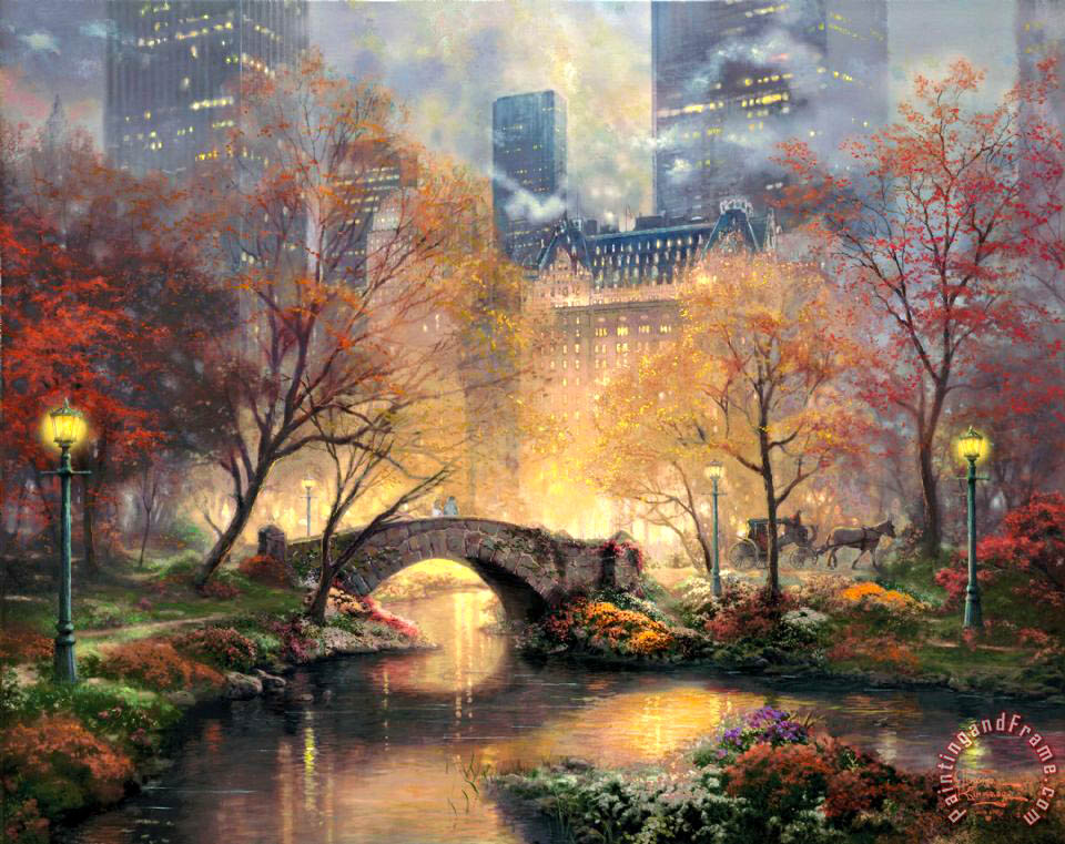 Thomas Kinkade Central Park in The Fall Art Painting