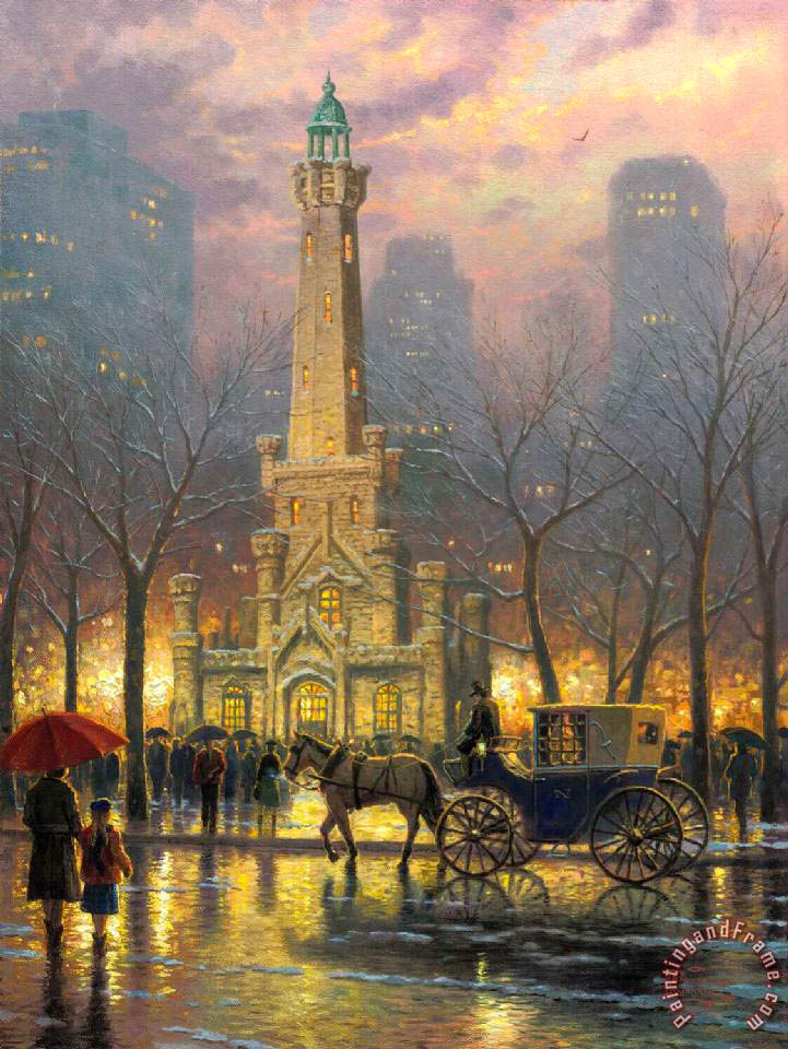 Thomas Kinkade Chicago, Winter at The Water Tower Art Painting
