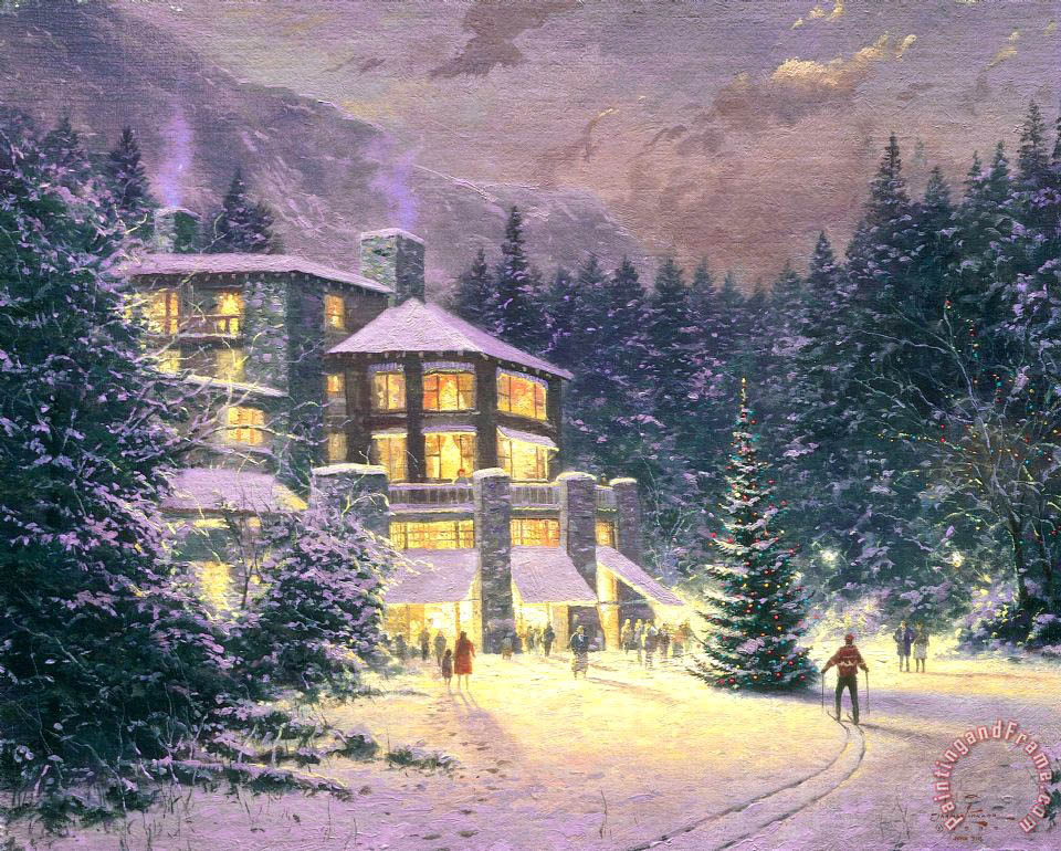 christmas at the ahwahnee painting thomas kinkade christmas at the ahwahnee art print