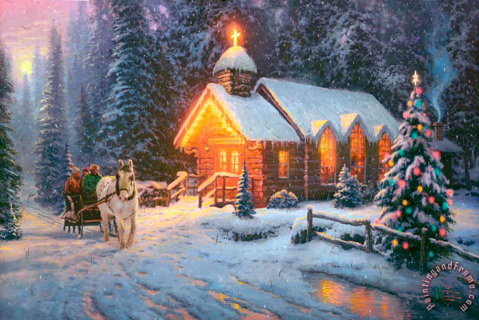 Thomas Kinkade Christmas Chapel I painting - Christmas Chapel I ...