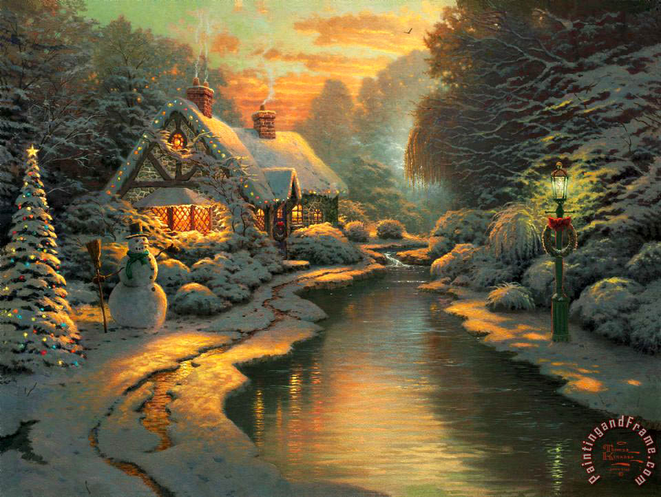 Thomas Kinkade Christmas Evening Art Painting