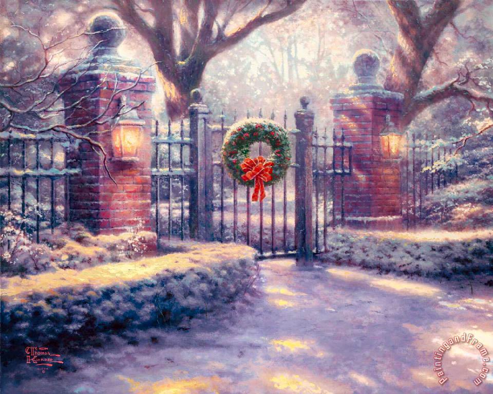 Thomas Kinkade Christmas Gate painting - Christmas Gate print for sale