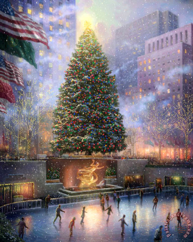 Christmas in New York painting - Thomas Kinkade Christmas in New York Art Print
