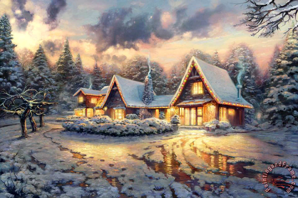 Thomas Kinkade Christmas Lodge - Limited Edition Paper (unframed ...