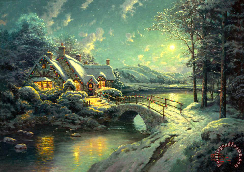 Thomas Kinkade Christmas.Christmas Moonlight