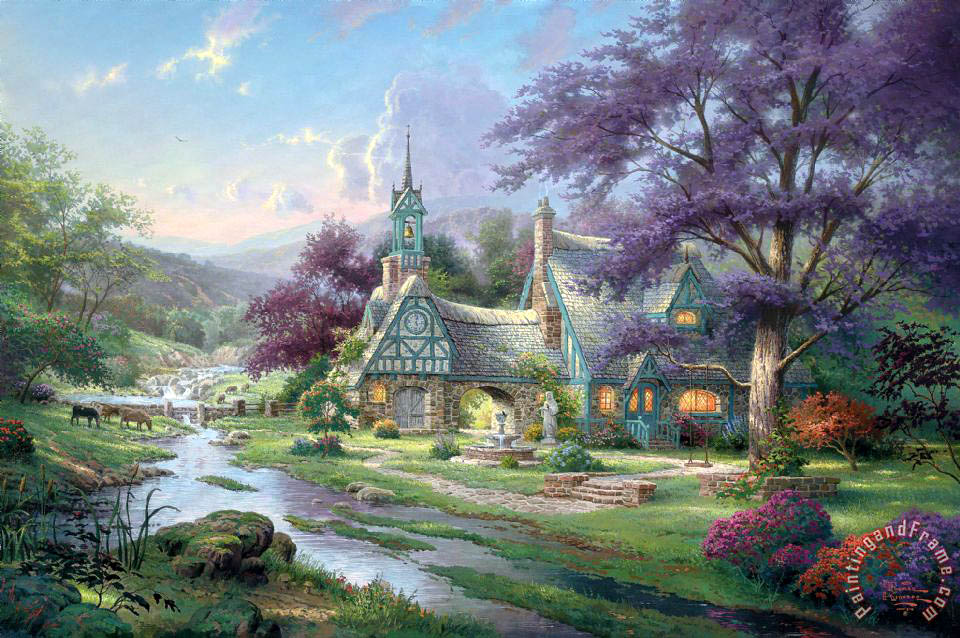 thomas kinkade clocktower cottage painting clocktower cottage rh paintingandframe com