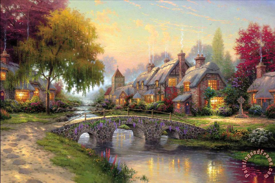 Paintings Of Cobblestone Paths : Thomas kinkade cobblestone bridge painting