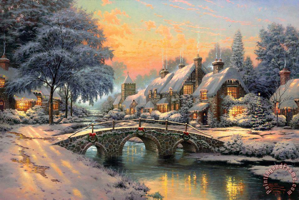 Thomas Kinkade Cobblestone Christmas painting - Cobblestone ...