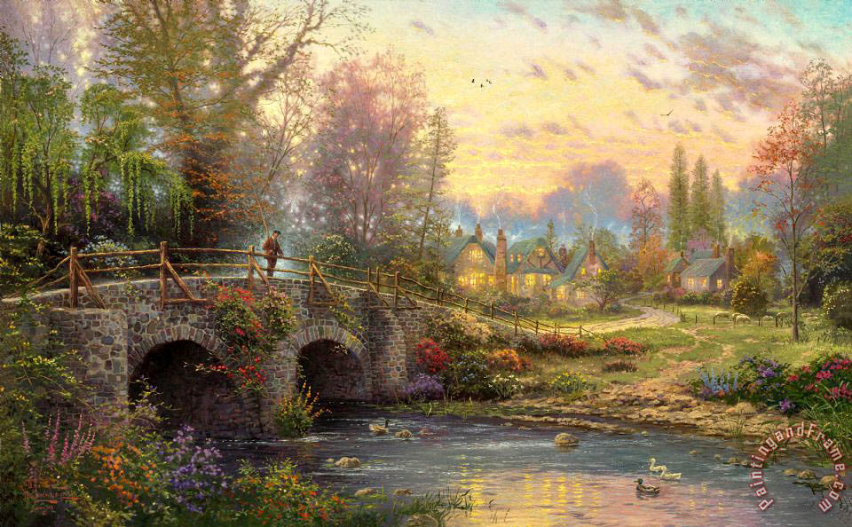 Thomas Kinkade Cobblestone Evening Art Print