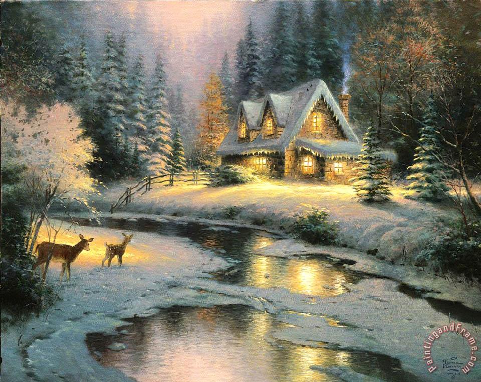 Thomas Kinkade Deer Creek Cottage Painting Deer Creek
