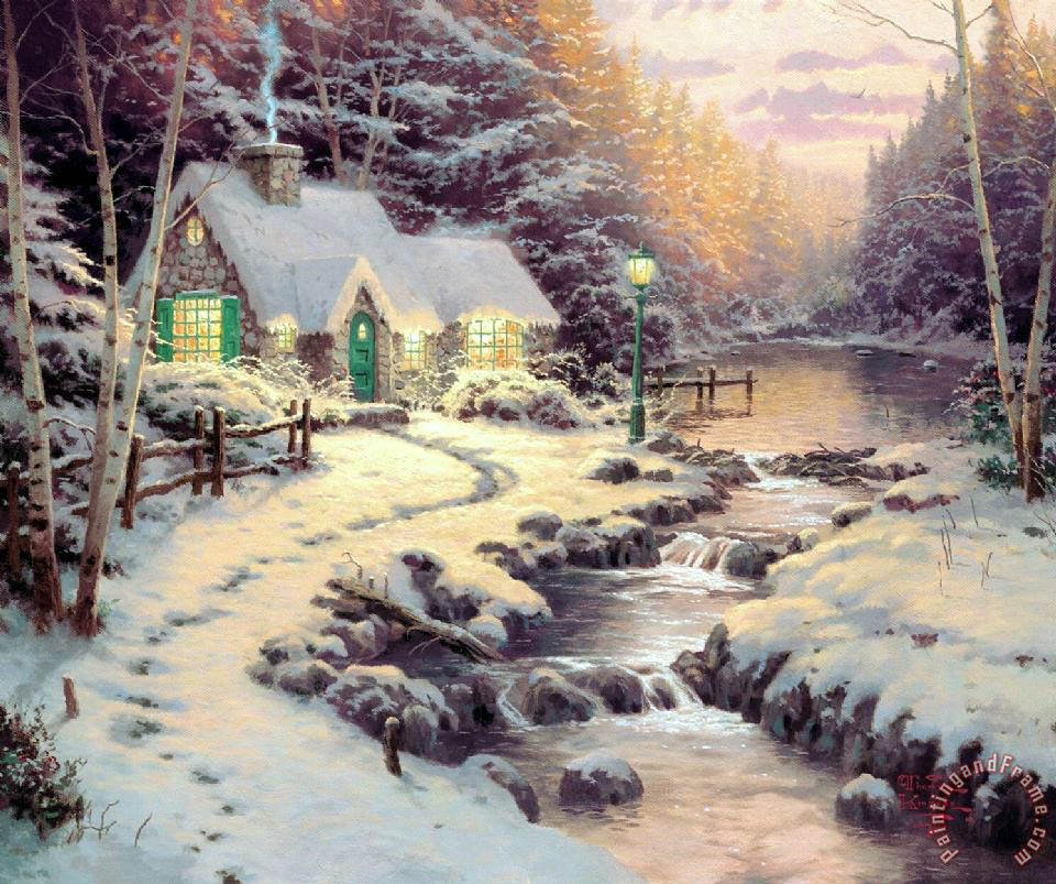 Evening Glow painting - Thomas Kinkade Evening Glow Art Print