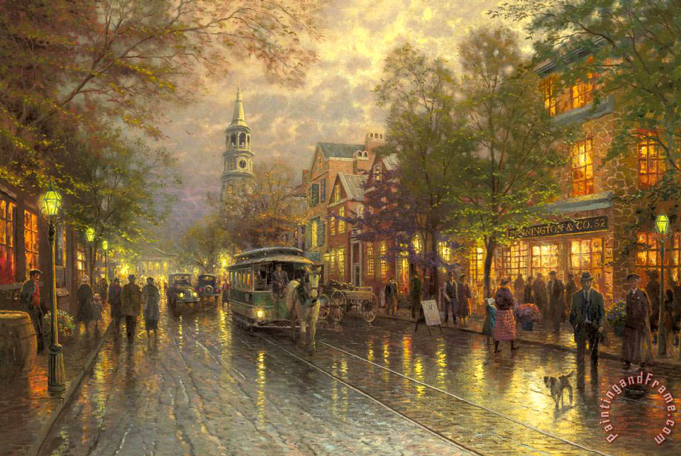 Evening on The Avenue painting - Thomas Kinkade Evening on The Avenue Art Print