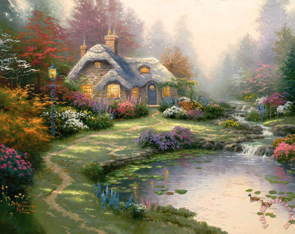 Everett's Cottage painting - Thomas Kinkade Everett's Cottage Art Print
