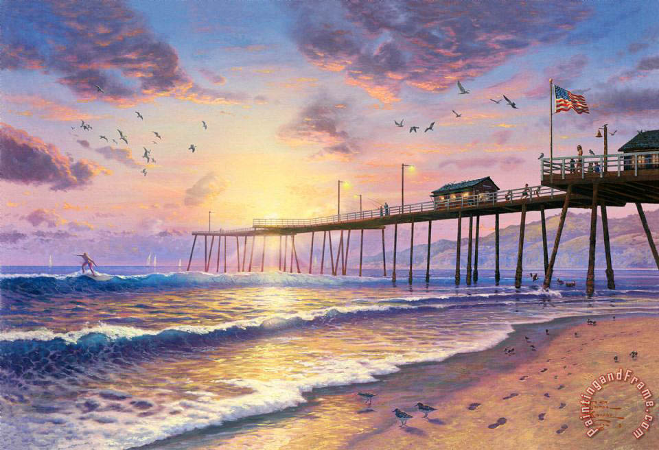 Thomas Kinkade Footprints in The Sand Art Painting