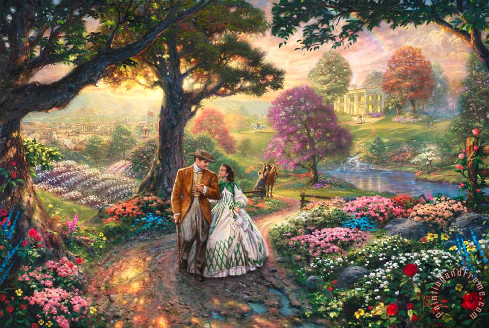 Gone with The Wind painting - Thomas Kinkade Gone with The Wind Art Print