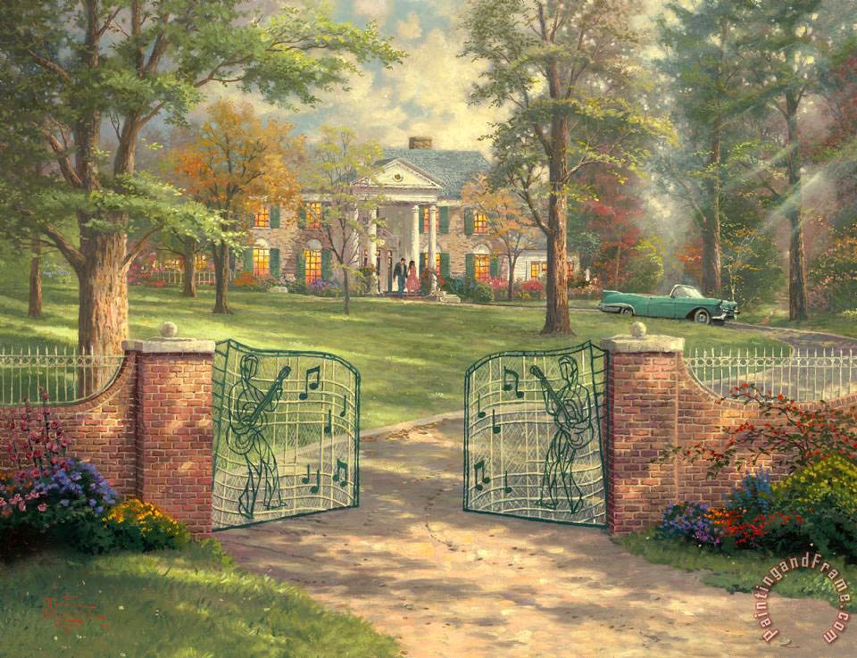 Graceland 50th Anniversary painting - Thomas Kinkade Graceland 50th Anniversary Art Print