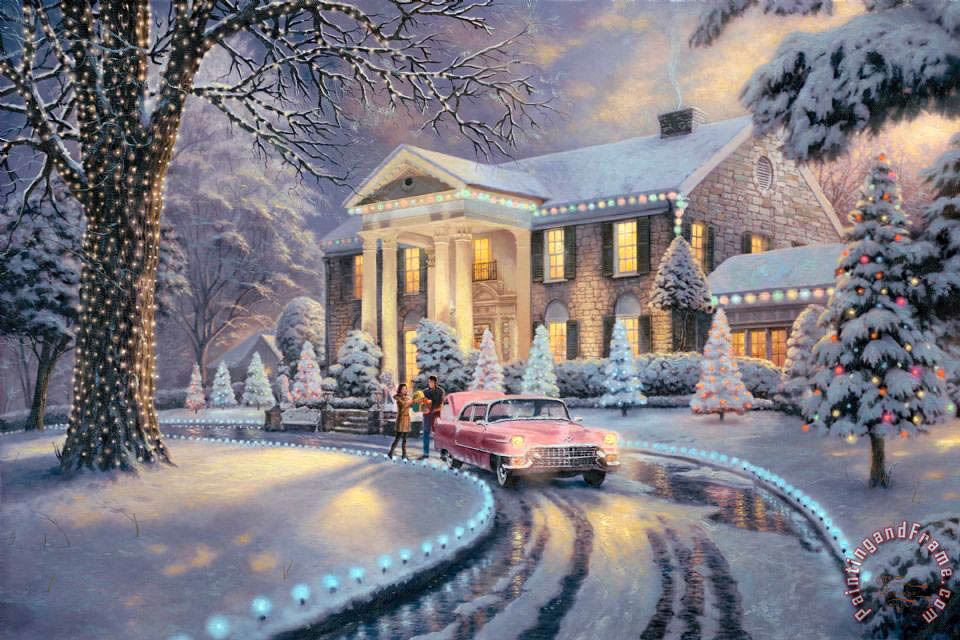 graceland christmas painting thomas kinkade graceland christmas art print