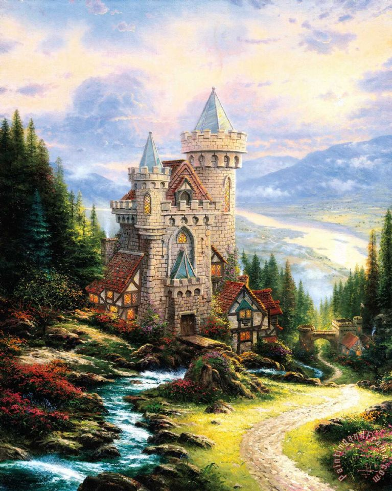 Guardian Castle painting - Thomas Kinkade Guardian Castle Art Print