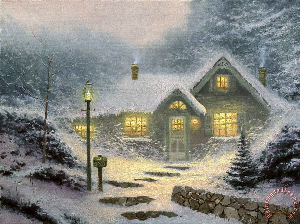 Thomas Kinkade Home for The Evening Art Painting
